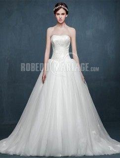 A-ligne robe de mariée bustier pas cher organza traîne courte