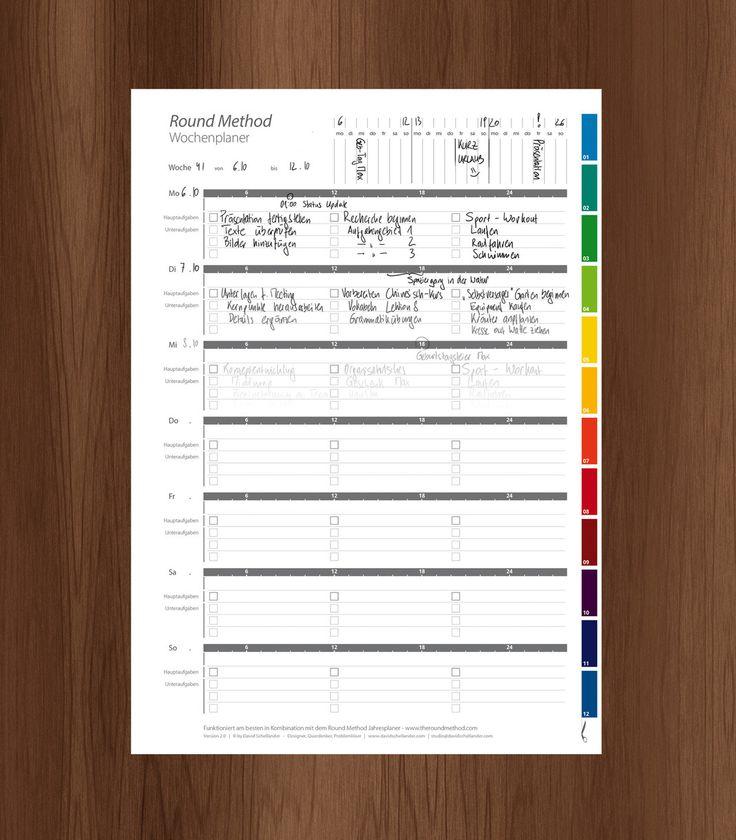 Der Round Method - Wochenplaner ist ein kostenloser Kalender zum Ausdrucken; papierbasiert, offline, effizient. Wir lieben Zeit-Management mit Stift & Papier!