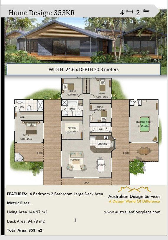 Pavilion Style Home Design 4 Or 5 Bedrooms 2 1 2 Bathrooms Rumpus Room Billiard House Plans 353m2 Or 3880 Sq Feet Dream Home Affordable House Plans House Design Contemporary House Plans