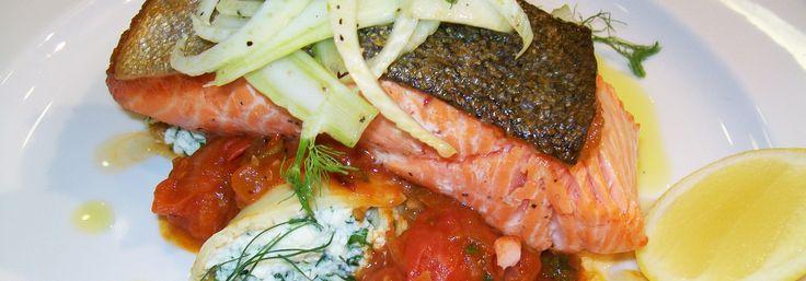 Crispy Skin Salmon, Herb Ricotta Crepe, Tomato Compote and Fennel