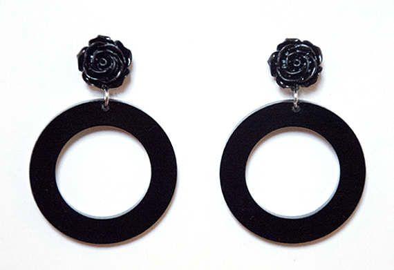 Gothic Black Rose Hoop Earrings Dangle Stud Earrings by Pornoromantic