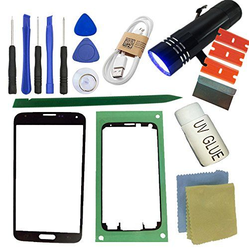 S5 Front Glass Screen Replacement Kit, Sunmall Front Outer lens Glass Screen Replacement Repair Kit LCD Glass Repair Kit With UV Glue UV Torch For Samsung Galaxy S5  https://topcellulardeals.com/product/s5-front-glass-screen-replacement-kit-sunmall-front-outer-lens-glass-screen-replacement-repair-kit-lcd-glass-repair-kit-with-uv-glue-uv-torch-for-samsung-galaxy-s5/  Come with tools kit, replace your Scratched or Cracked screen glass lens perfectly, it can be work for all Sams