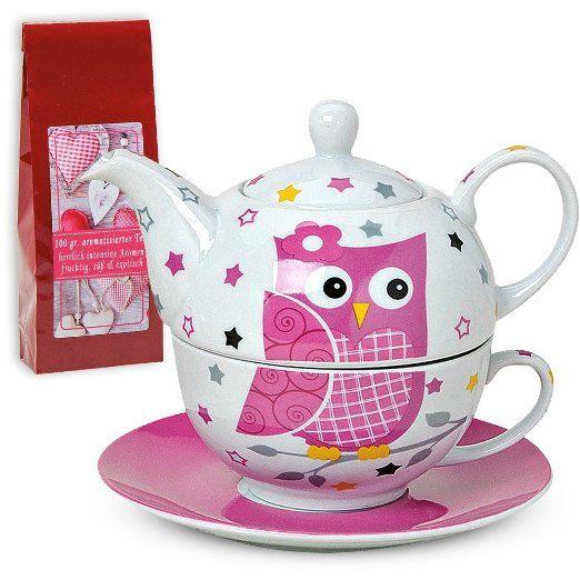 Tea For One Teekannen-Set mit Tasse & Untersetzer 3-tlg. 600 ml Eulen pink im Geschenkkarton inkl. 100 gr. Teegenuss