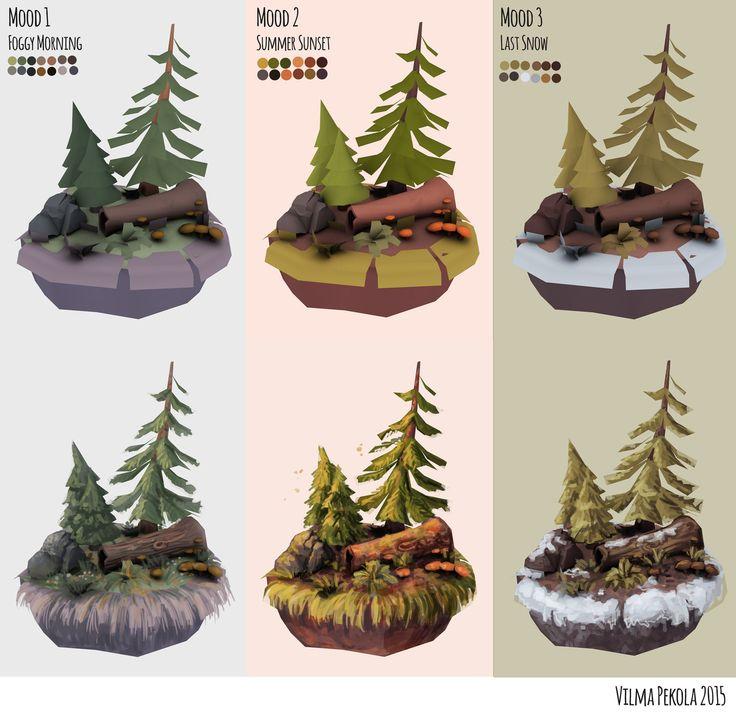 ArtStation - Hand Painted Forest Scene, Vilma Pekola