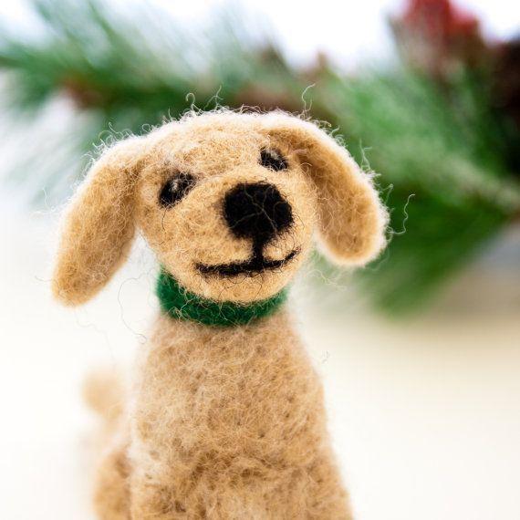 Needle felted golden retriever dog ornament Golden by CraftsByKeri, $28.00