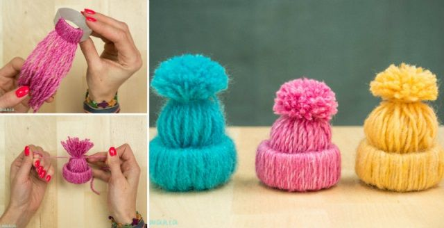 DIY Toilet Paper Roll Yarn Hat