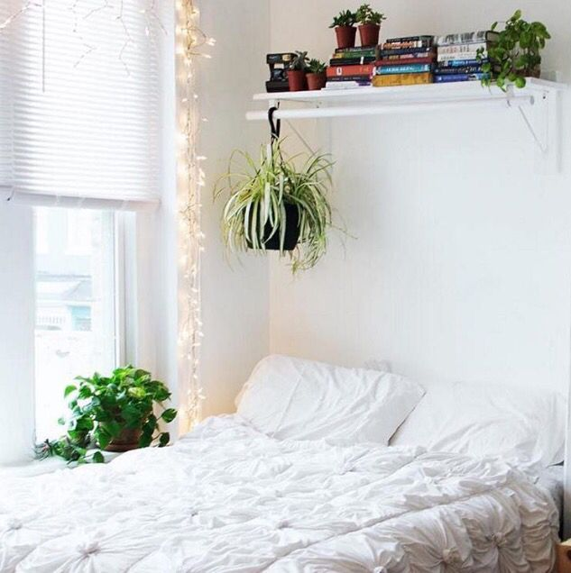 Love the shelf over the bed