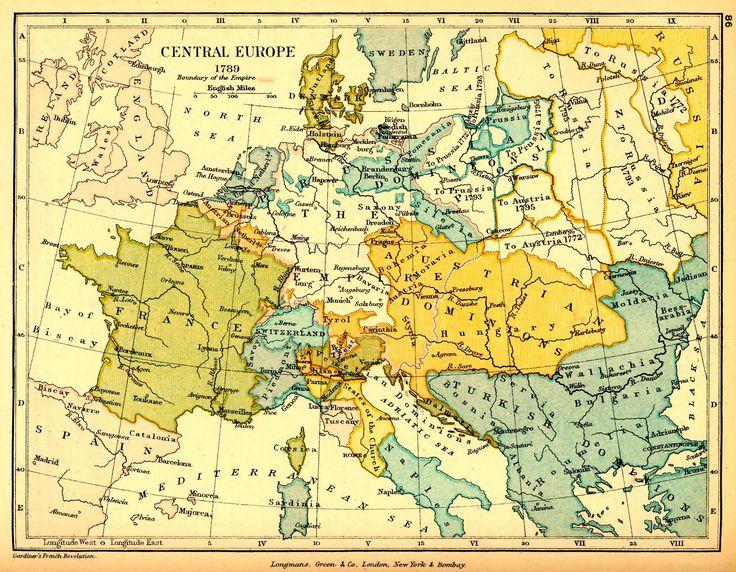 EUROPA CENTRAL. Mapa geográfico. 1789.