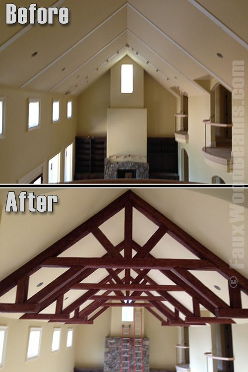 16 best before and after images on pinterest faux wood for Faux wood trusses