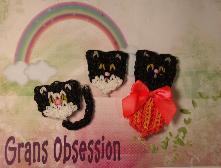 Rainbow Loom KITTENS. Designed and loomed by Denise Christensen James of Grans Obsession. (Rainbow Loom FB page)