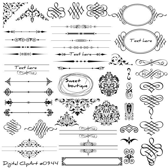 Digital text dividers, Page decoration, Wedding dividers, Digital Clip art, Flower text dividers, Ornate clipart, Digital frames art 0944
