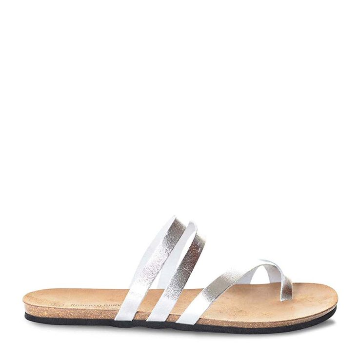 Roberto Durville Paris - Dani -Women's Silver Leather Flat Sandals 39 M EU -- Find out more about the great product at the image link.