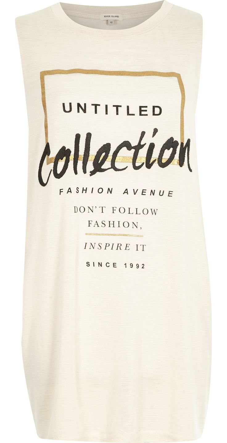 Beige untitled collection longline tank top - print t-shirts / vests - t shirts / vests / sweats - women