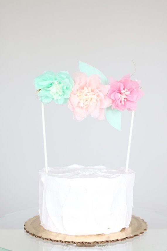Pink Paper Flower Cake Topper Tissue Paper Cake by BlushBazaar