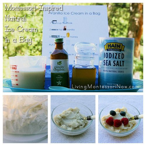 Montessori-inspired tray and free recipe page for making natural ice cream in a bag