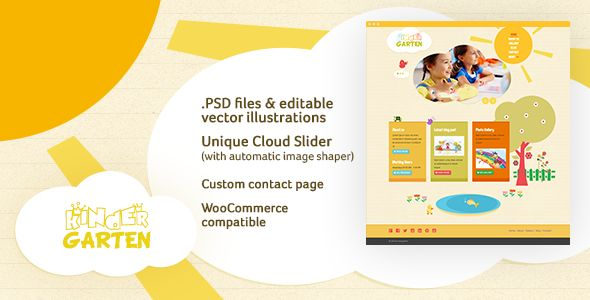 Kindergarten is a Boostrap 3 based responsive Retina-Ready WordPress theme, designed for kindergartens/nursery/preschool, or any other kids-themed websites.    Features   Bootstrap 3, Responsive Re...