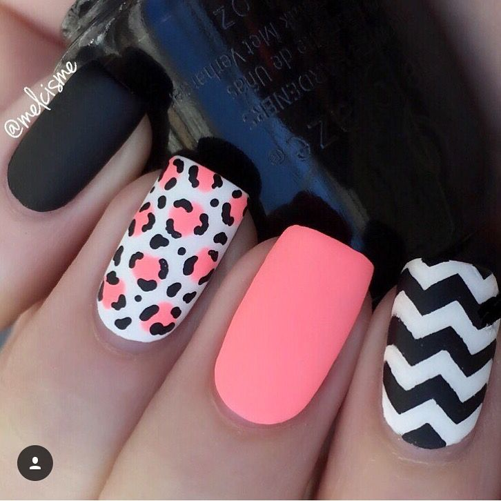 Love this leopard & chevron mani mixed in with a little neon! Hooray for @melcisme! - Chevron Nail Vinyls snailvinyls.com