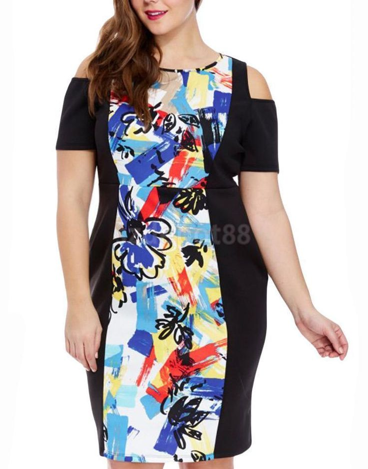 Off The Shoulder Printed Cut Out Bodycon Plush Size Dress Pencil Dress for Women #Unbranded #Sheath #Casual