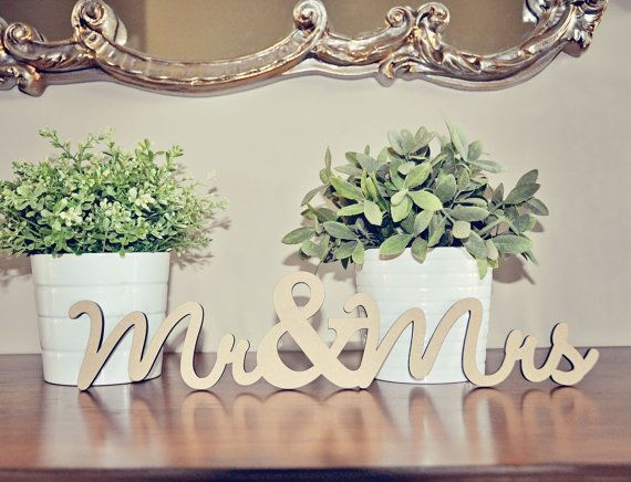 Mr & Mrs Wood Wedding Decoration by sayhelloshop on Etsy, $9.00