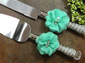 Aqua Wedding Cake Knife Set Aqua and Silver by PrettyCountryBridal