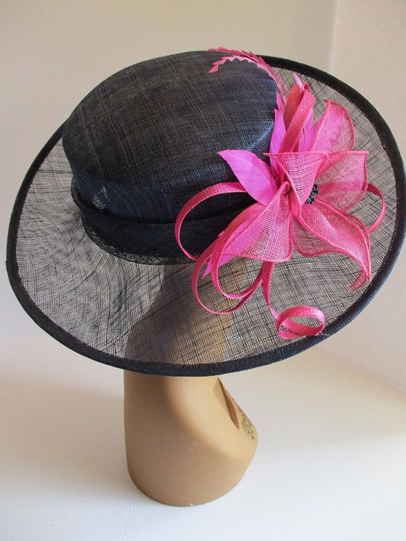 ab6f82d874caef Navy blue W Hot Pink Kentucky Derby Hat, Church Hat, Wedding Hat, Easter Hat,  Tea Party Hat Wide Brim Woman's Sinamay Hat
