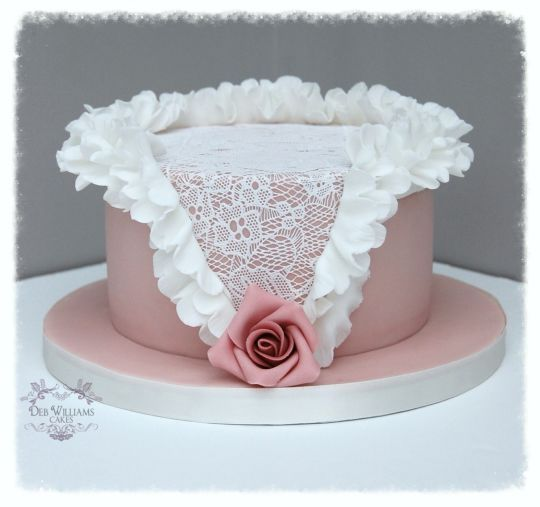 Vintage pink ruffles and lace~  This was my first go using my sugarveil mat and cake