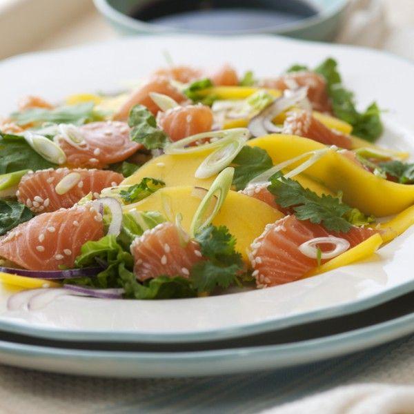 Sashimi med mango og koriander