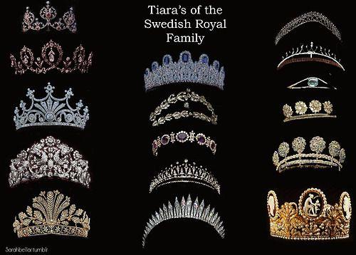 TIARAS OF THE SWEDISH ROYAL FAMILY~ L-R Top to Bottom: Edward VII Ruby Tiara, Connaught Tiara, Nine Prong Tiara/ Queen Sophia's Diamond Tiara, Braganza Tiara, Cut Steel Tiara, Leuchtenberg Sapphire Tiara, Laurel Wreath Tiara, Queen Josephine's Amethyst Tiara, Modern Fringe Tiara/ Carl XVI Gustaf Tiara, Baden Fringe Tiara, Small Steel Tiara, Crown Princess Victoria Cameo wedding tiara.