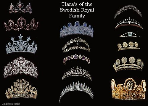 TIARAS OF THE SWEDISH ROYAL FAMILY~ L-R Top to Bottom: Edward VII Ruby Tiara, Connaught Tiara, Nine Prong Tiara/ Queen Sophia's Diamond Tiara, Braganza Tiara, Cut Steel Tiara, Leuchtenberg Sapphire Tiara, Laurel Wreath Tiara, Queen Josephine's Amethyst Tiara, Modern Fringe Tiara/ Carl XVI Gustaf Tiara, Baden Fringe Tiara, Small Steel Tiara, Crown Princess Victoria Cameo wedding tiara.