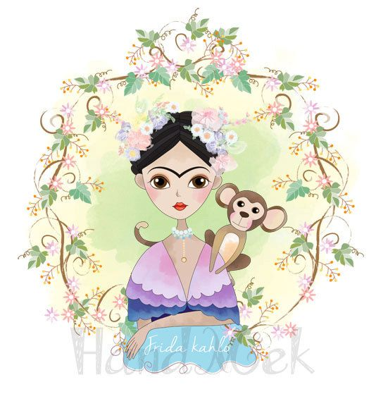 Frida kahlo Clipart Instant Download PNG , JPEG file 300 dpi