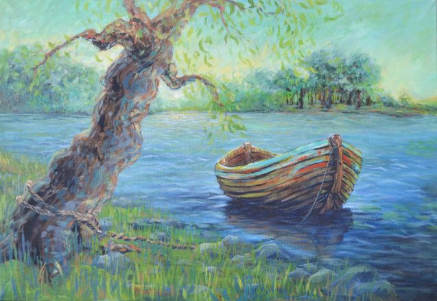 Boat on the Danube, Braila, Romania - acrylic painting