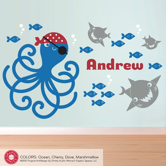 Pirate octopus name wall decal personalized cute pirate for Girl fish names