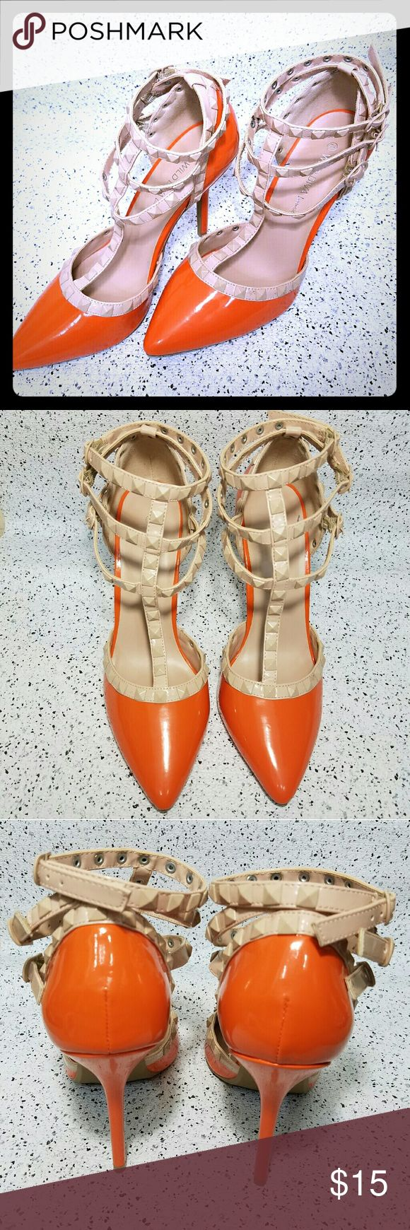Women heels Orange high heels sandals. I have never worn it. Lovely pair for ur lovely outfit that will enhance your personality more.on shoe it says size👉 7.5 but it  is fit for size 8. I dnt know i think its narrow toe shoe thats why size is like that.but best fit for size 👉8. Shoes Heels