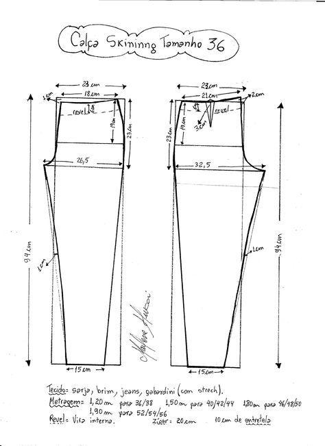 Esquema de modelagem de calça skinny tamanho 36.