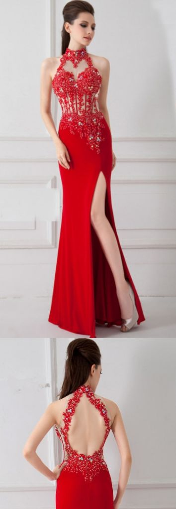 Sleeveless Prom Dresses, Red Sleeveless Prom Dresses