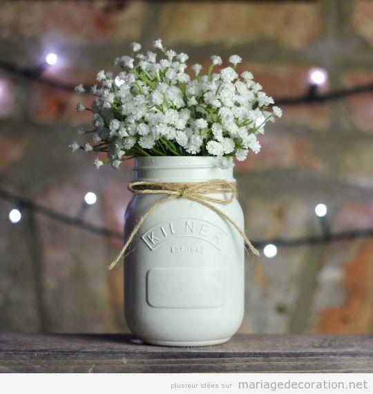 Centre table DIY, pot en evrre, jute et fleurs panicule