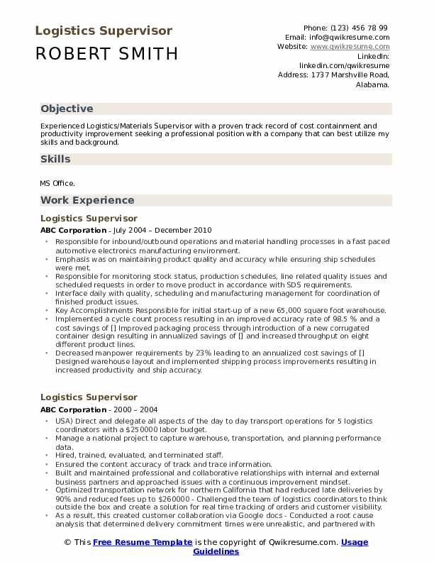 Logistics Supervisor Resume Samples Qwikresume In 2020 Resume Template Resume Design Template Downloadable Resume Template