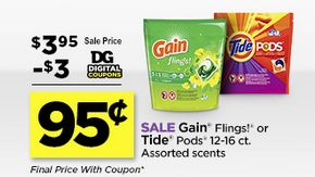 Tide Pods or Gain Flings 12-16 Count for $.95 at the Dollar General (Digital Coupon) through 04-16