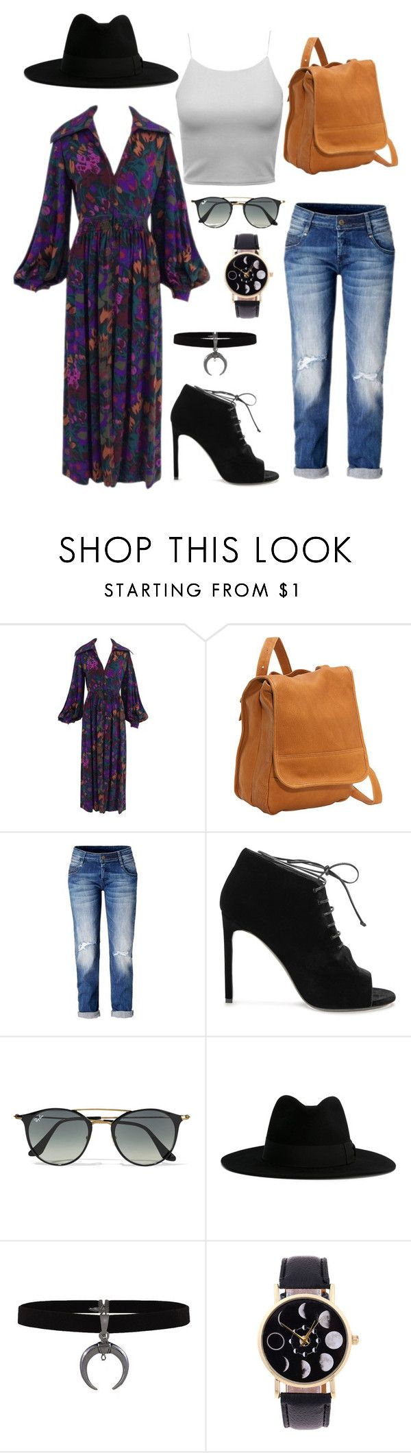 """""""Gypsy Lala casual"""" by oneluvlyn ❤ liked on Polyvore featuring Le Donne, Yves Saint Laurent and Ray-Ban"""