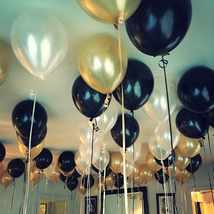 Gold, Black and White balloons