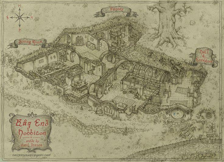 Bag end emil jensen on artstation at https www for Hobbit house drawings
