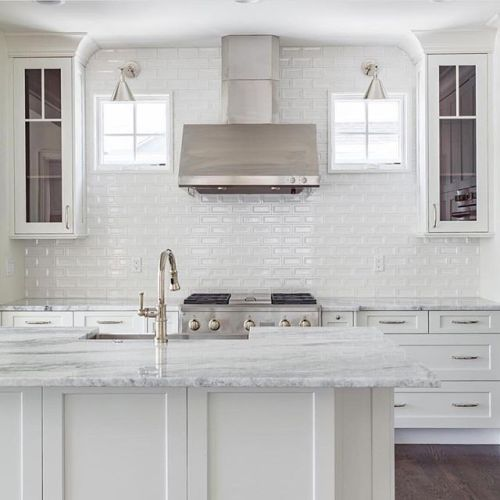From the crisp white cabinets to the state-of-the-art @monogramappliances appliances to the stylish backsplash! This is white kitchen done right! #whiteonwhite #perfection #monogrampartner - Architecture and Home Decor - Bedroom - Bathroom - Kitchen And Living Room Interior Design Decorating Ideas - #architecture #design #interiordesign #homedesign #architect #architectural #homedecor #realestate #contemporaryart #inspiration #creative #decor #decoration