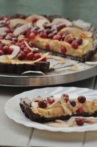 Tarta kokosowo - żurawinowa na spodzie razowym / coconut cranberry tart with whole wheat rye crust