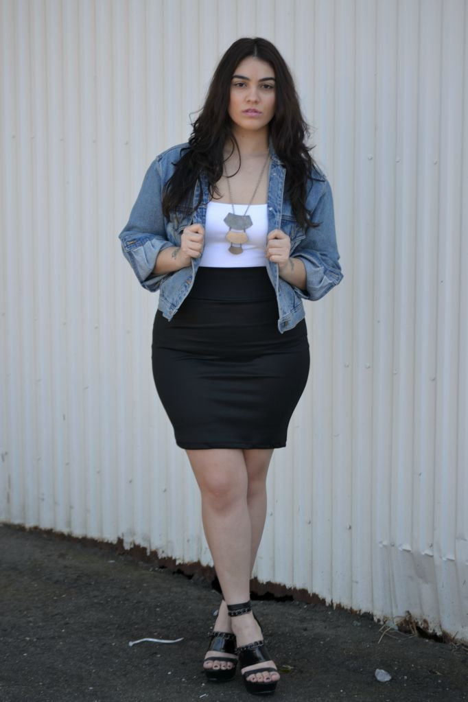 "denim jacket, white tube top, black pencil skirt #curvy  #thick  wedges   ""if you follow my Curvy Girl's Spring/Summer Closet, make sure to follow my Curvy Girl's Fall/Winter Closet.""   http://pinterest.com/blessedmommyd/curvy-girls-fallwinter-closet/"