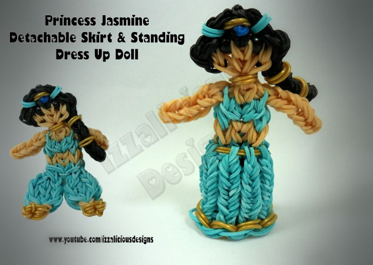 Rainbow Loom - Princess Series - Detachable & Standing Up 3D Skirts - Princess Jasmine - Princesses using a single Rainbow Loom