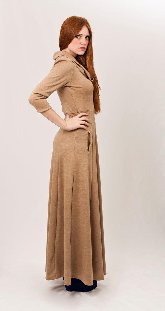 Golden Camel maxi dress cut waistband long half by texturable, $160.00
