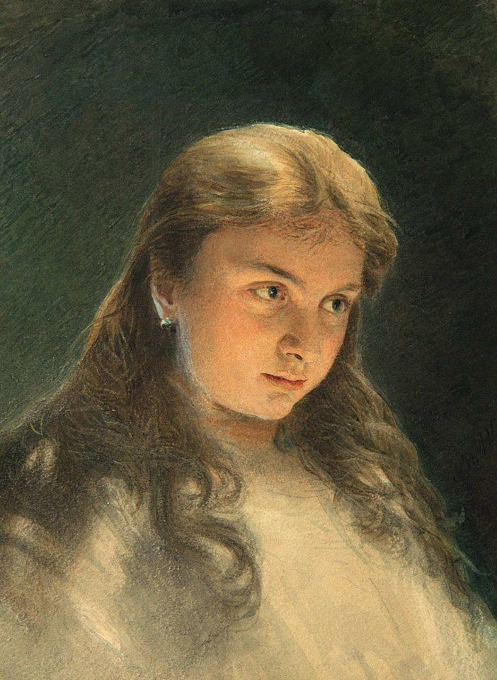 Victor Bobrov (1842 — 1918, Russia) Female head. Женская головка. 1880-s watercolor on paper. 33 x 23 cm. Виктор Алексеевич Бобров