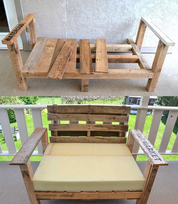 Recycle repurpose a pallet into a DIY patio chair for outdoor furniture. One of many great pallet repurposing ideas from DIYReady.com | diyready.com/19-cool-pallet-projects-pallet-furniture/