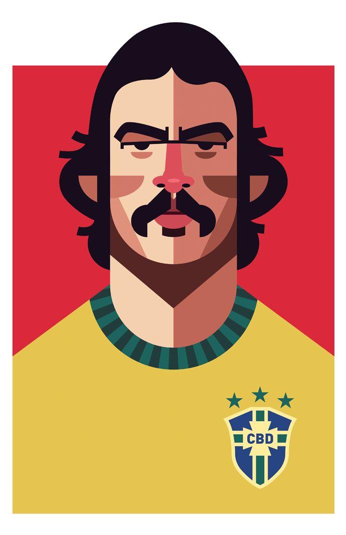 Roberto Rivelino, Brazil | Football Players Vector Illustrations by Daniel Nyari.