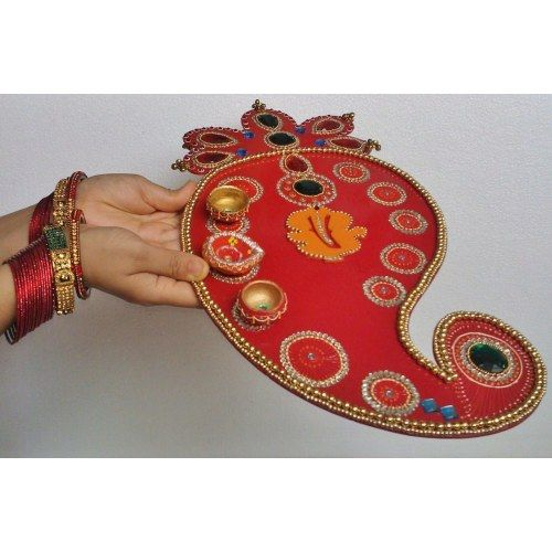 18 best images about creativity on pinterest peacocks for Aarti thali decoration with kundan